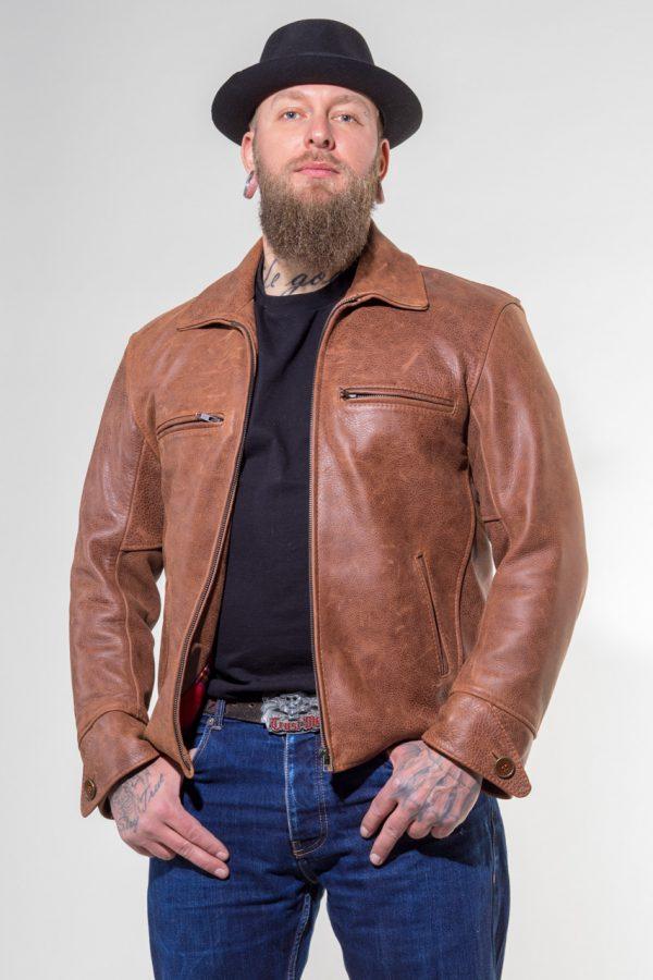 Lederjacke Nevada aus Rindleder Farbe: cognac