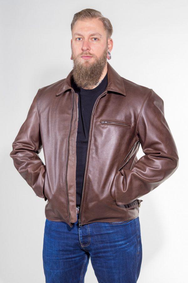 Lederjacke Reno aus Rindleder Farbe: dunkelbraun